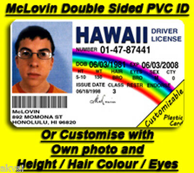 McLovin Superbad Fogell Replica PVC ID card - DOUBLE SIDED! - COSPLAY