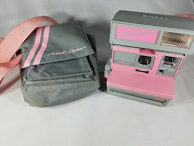 Vintage Polaroid 600 Cool Cam Pink and Grey Instant Camera w/ Strap - Untested