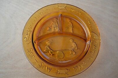Margery Daw Child Nursery Rhyme Plate See Saw Gold Glass Pretty Maid See Saw