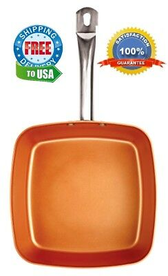 """Pan Square Frying 9.5"""" Copper Non Stick Infused With Ceramic and Titanium New"""