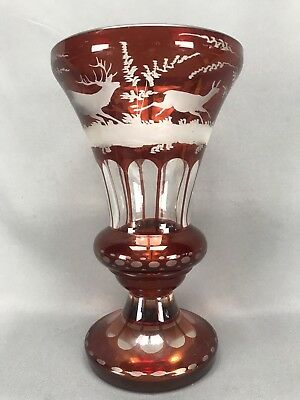 Egermann EGC2 Ruby CUt to CLear Crystal Vase Stags and Forest