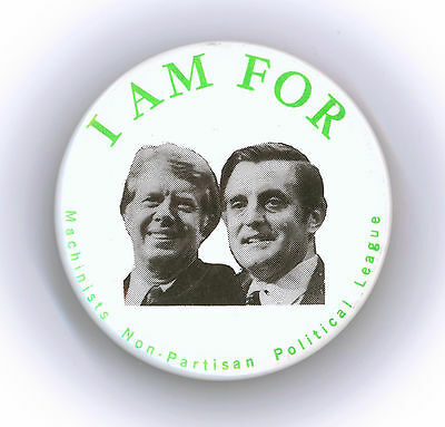 "Rare  ~ "" I'M FOR CARTER - MONDALE ""  ~  1976 Union Campaign Button"