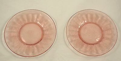 "2 Floral Poinsettia Pink 6"" Sherbet Plates Jeanette Depression Glass"
