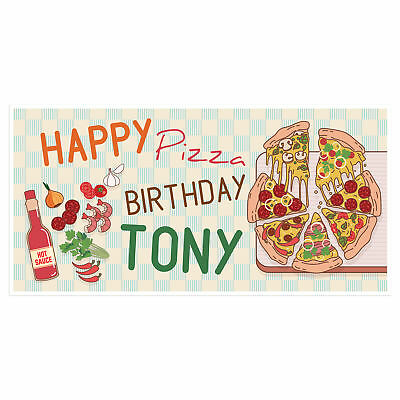 Pizza Party Banner Personalized Birthday Decoration Backdrop