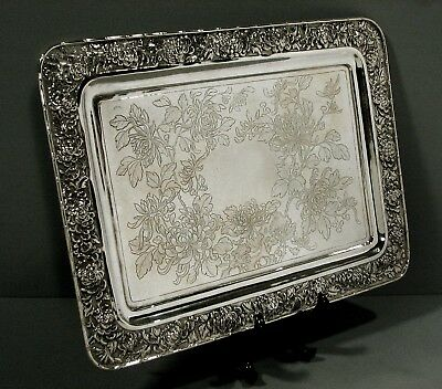 Chinese Export Silver Tea Set Tray       Luewo c1885      54 Ounces