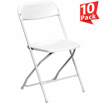 10 White Plastic Folding Chair 250 Lb Capacity All Weather Commercial Use