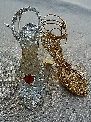 2 Katherines Collection High Heel Shoes Silver & Gold Glitter New ornaments