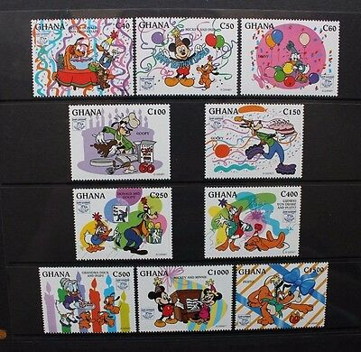 GHANA 1995 Disney 60th Anniversary of Donald Duck. Set of 10. MNH. SG2091/2100.