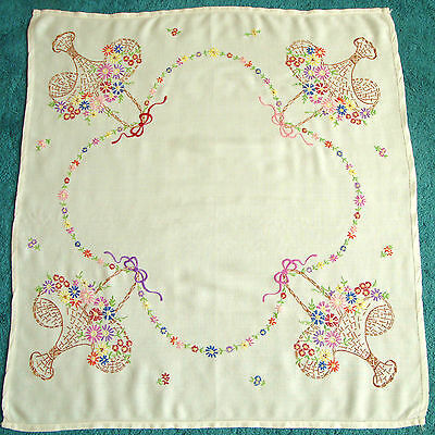 """Vintage Embroidered Multi Coloured Flower Baskets Linen Tablecloth 32"""" Square"""