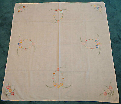 """Vintage Embroidered Linen Pretty Multi Coloured Floral Tablecloth 50"""" Square"""