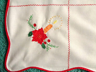 """Festive Christmas Candle White Embroidered & Applique Cotton Tablecloth 40"""" Sq"""