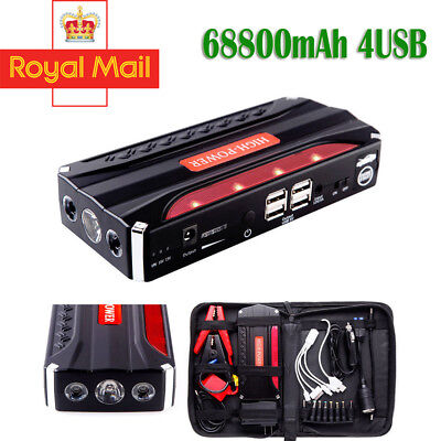 68800mAh Car Jump Starter Power Bank 4USB Emergency Charger Booster Battery UK !