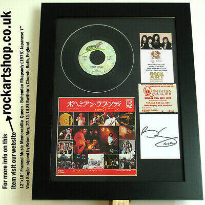 """QUEEN Bohemian Rhapsody *SIGNED BY BRIAN MAY* 7"""" Vinyl Single +1977 Ticket WORLD"""