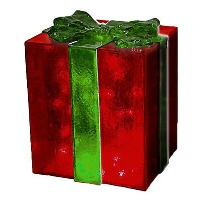 LightUp Red Gift Box with Green Bow - 45cm