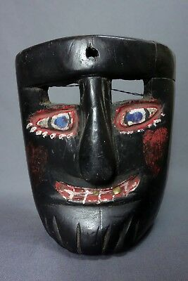 Black Hand carved Vintage Dance Mask from Guatemala