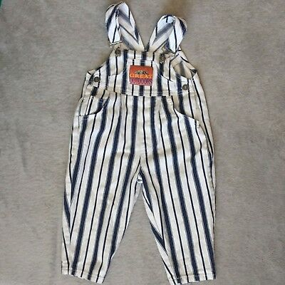 Vintage Striped Overalls Blue White Jean Denim 3T Toddler Great Outdoors 80s 90s