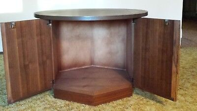 End Table Lane Hexoganal Vintage with Doors for Album Storage