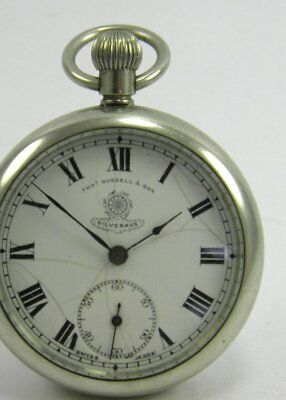 Antique Thomas Russell & Son Silvernus silver plate crown wind pocket watch 2