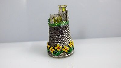 Vintage Pewter Thimble Village House Handpainted Flowers Collectible Sewing