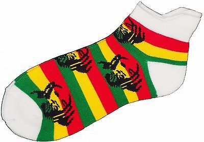 Men's Rasta, Bob Marley, Ganja Ankle Trainer Sports Socks In Green Red Yellow
