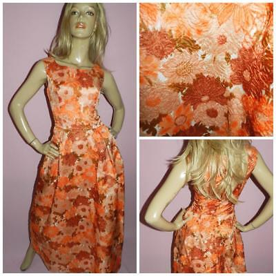VINTAGE 50s MID CENTURY ORANGE FLOWER POWER MAXI DRESS 8-10 S BETTY DRAPER 1950s