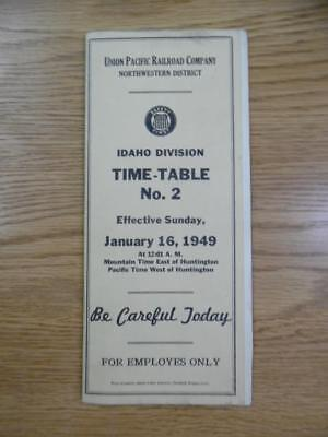 1949 Union Pacific Railroad Employee Timetable 2 Idaho Division Northwestern UP
