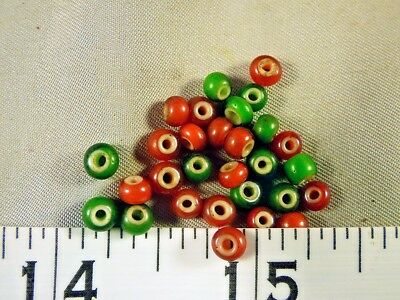 (30) Red Green White Heart Trade Beads Hudsons Bay Comp Venetians 150+ Years Old