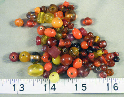 Large Collection of Red Yellow Glass Indian Trade Beads 150+ years Old Venetian