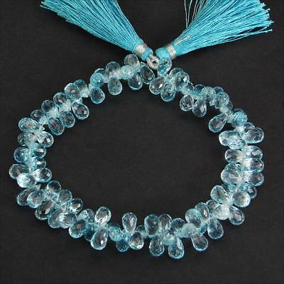 213 Cts/90 Pcs AAA Finest Quality Natual Swiss Blue Topaz Pre-Drilled Briolettes
