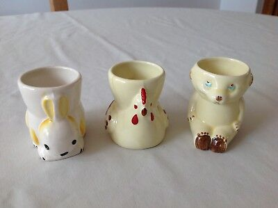 ** VINTAGE EGG CUPS x 3 ~ BUNNY,  CHICKEN & BEAR **