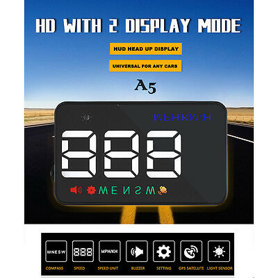 "A5 3.5"" GPS HUD Car Head Up Display Speedometers Projector Overspeed WarningKitJ"