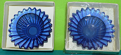 Two Cobalt Blue Glass Candle Holders