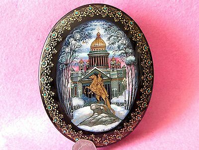 Lacquer box Russian Hand Painted Kholui St. Isaac's cathedral Petersburg Peter I