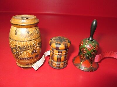 3 Victorian Period  Antique  SEWING ITEMS -  1 TARTAN WARE Signed STUART & other