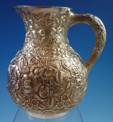 Repousse by Tiffany & Co Sterling Silver Water Pitcher w/Repoussed Flowers #1653