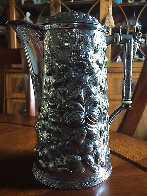 Antique Baltimore Silver Repousse Tankard Pot Style Pitcher Chas. W Hamill & Co