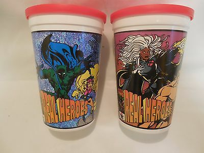 2 Different Marvel Real Hero Plastic Cups With Lids From Pizza Hut Unused 1994