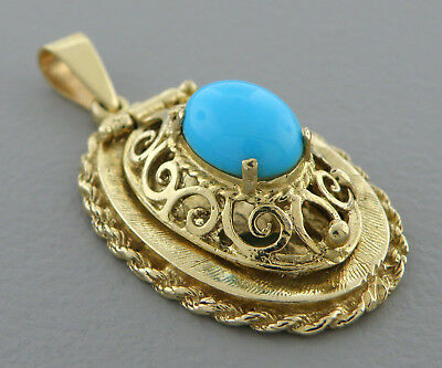 Antique Vintage 14K Yellow Gold Turquoise Cabochon Locket Pendant Heavy