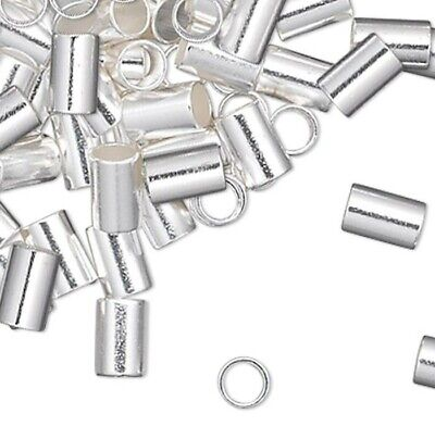 Approximately 380 Silver Plated 2x1.5mm Crimp Tubes / 1/2oz Crimping Beads