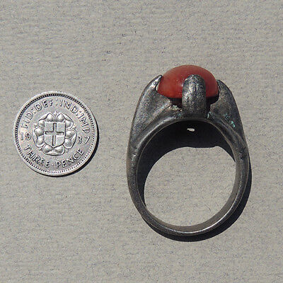 an old antique silver ring inset with agate carnelian nigeria #54