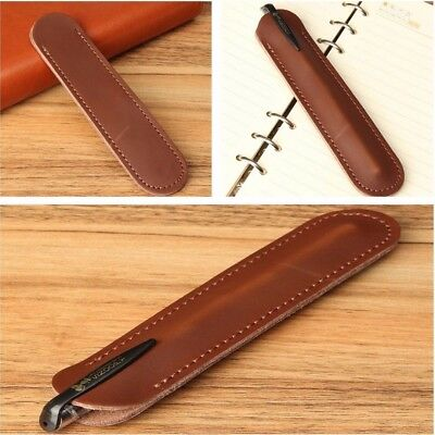 Vintage Brown Genuine Leather Fountain Pen Case Bag Pen Holder Sleeve Pouch