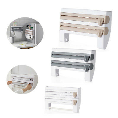4-in-1 Wall-Mount Kitchen Paper Holder Plastic Wrap Dispenser with Spice Rack