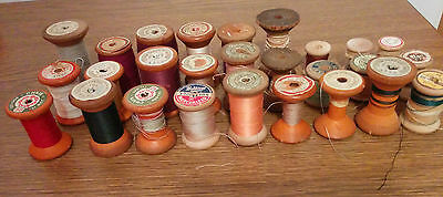 Vintage Wood Spools of Sewing Thread different styles and sizes arts crafts