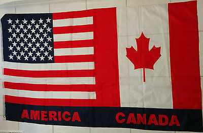 USA America Canada Friendship Flag Polyester  (60 x 35 INCHES)