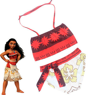 Kids Girls Child Moana Cosplay Swimwear Swimsuit Swimming Bikini Costume Cartoon