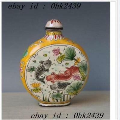Chinese Cloisonne Hand-painted Fish Snuff Bottles w Qianlong Mark