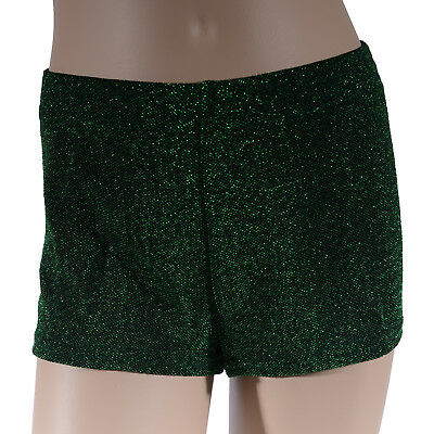 Girls Green Glitter Bike Shorts, Girl's Christmas Dance Gym Roller Sports Xmas