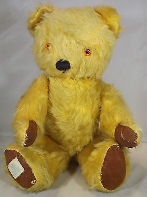 """VINTAGE 1950s/60s 15"""" CHAD VALLEY JOINTED MOHAIR TEDDY BEAR WITH REXINE PADS"""