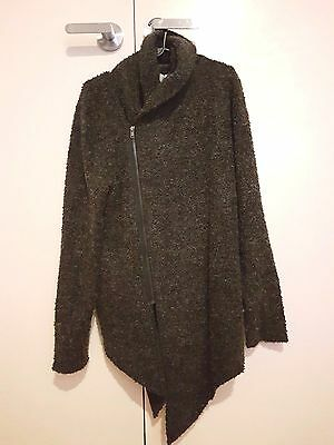 DIVIDED H&M Men's Black Thick Wool Knit Jumper Size S Navy Blue Hooded Zip Up