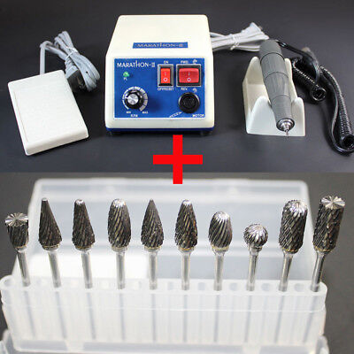 Dental Marathon Electric Micro Motor 35Krpm Polisher + 10 Tungsten Steel Carbide